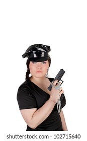 young beautiful police woman with the gun and handcuffs
