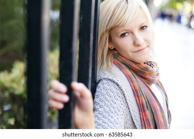 Young beautiful  portrait of a blond girl.