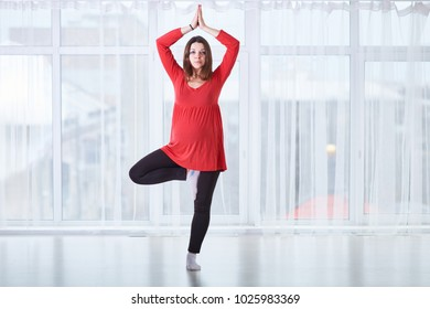 Young beautiful pregnant woman doing yoga asana Vrikshasana - tree pose at home. studio shot.