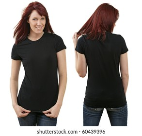 5abdf888a Young beautiful redhead female with blank black shirt, front and back.  Ready for your