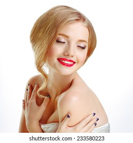 Young beautiful sexy blonde with stylish make-up and hairdo