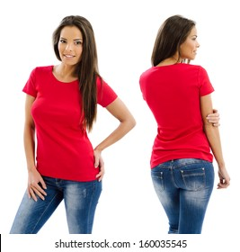 Young beautiful sexy female with blank red shirt, front and back. Ready for your design or artwork.