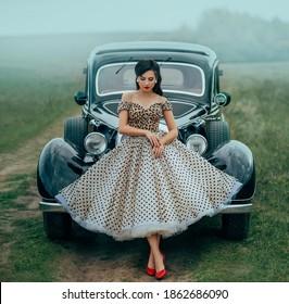 Photo print Original retro  pin up photoshoot with car