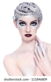 Young beautiful sexy woman with stylish fancy make-up and silver hair on white background