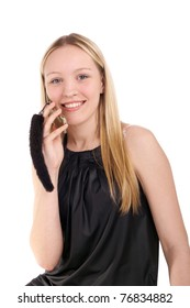 young beautiful smiling blonde girl speaking a mobile phone