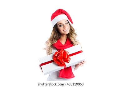 Young beautiful smiling woman with a gift isolated on white background.