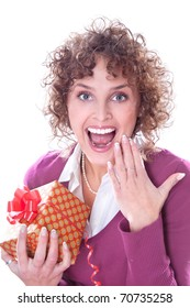 Young beautiful young smiling woman with a gift