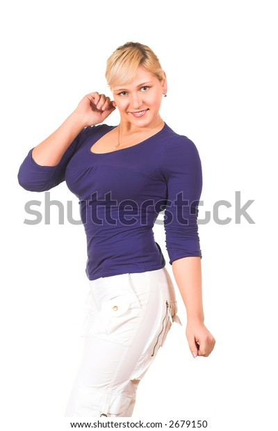 Young beautiful smiling woman pointing. Isolated over white background.