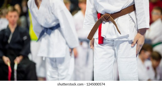 young, beautiful and successful karate kid in karate position. Sport competition.