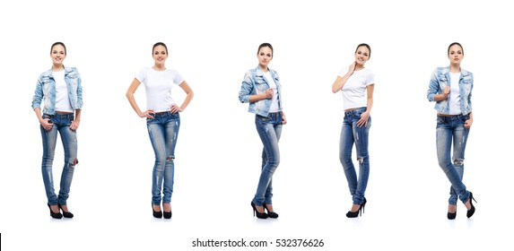 Young and beautiful teenage girl in denim jeans isolated on white. Set collection.