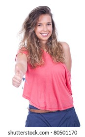 young and beautiful teenage woman with thumb up