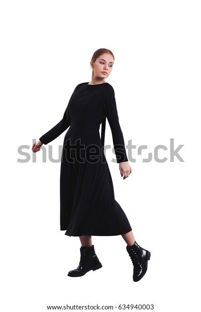 Young beautiful teenager girl in rock style concept wear