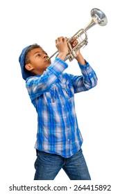 Young beautiful trumpeter plays jazz. Jazz trumpeter.