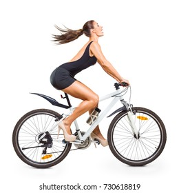 Young beautiful woman with bicycle isolated on white background