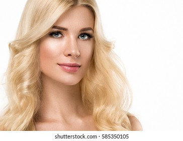 Young beautiful woman blonde curly hairstyle skin care concept portrait.