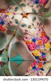 Young beautiful woman with bright colorfull makeup on flower background. Pretty girl pose in green evening dress in kaleidoscope. Art portrait with mirrors. Conceptual color photography. Fashion style