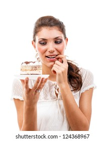 Young beautiful woman with a cake
