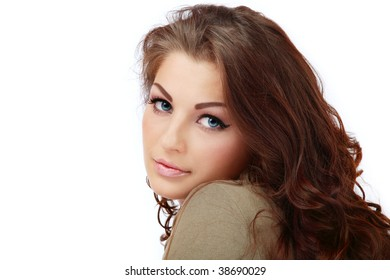 Young beautiful woman with curly hair and trendy makeup, on white background