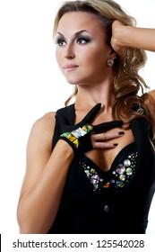 young beautiful woman dancing jazz modern dance
