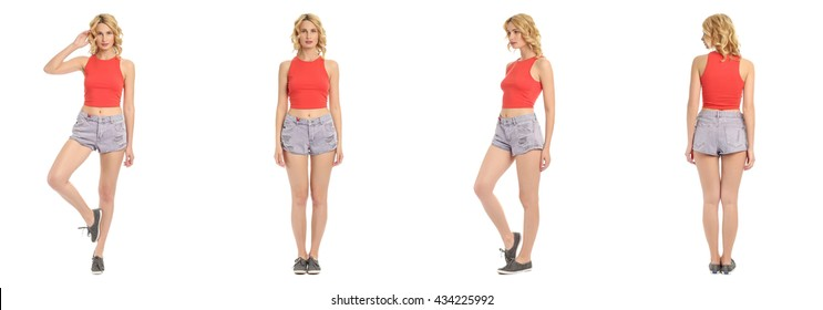 Young and beautiful woman in denim shorts isolated over white