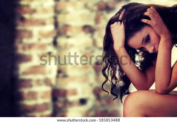 うつ病の若い美人