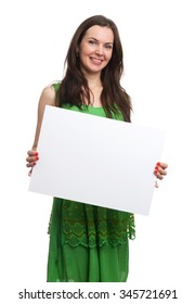 young beautiful woman in dress hold blank card, studio shot