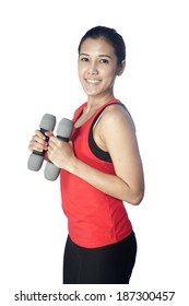 Young beautiful woman during fitness time and exercising , isolated on white background