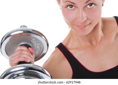 young beautiful woman exercising with hand weight