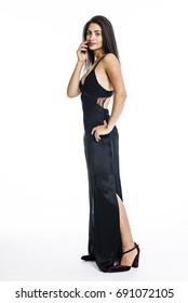 Young beautiful woman in fancy black dress