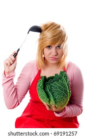 young beautiful woman with fresh savoy cabbage and ladle on white background