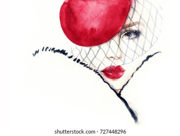 Young beautiful woman in fur coat. watercolor painting. fashion illustration