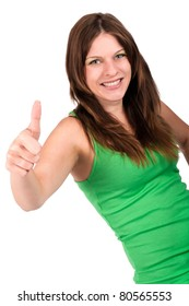young beautiful woman with green top showing thumbs up