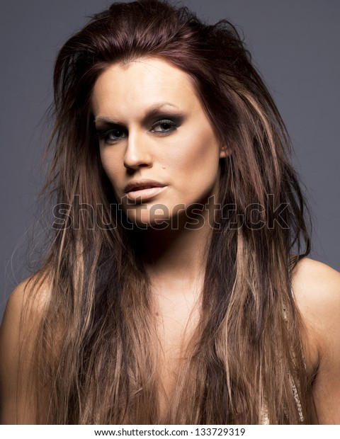 Young beautiful woman with hair extensions.