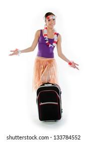 young and beautiful woman in a Hawaiian dress