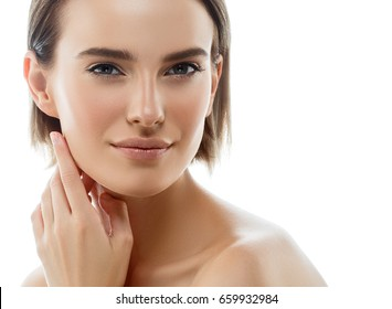 Young beautiful woman healthy perfect beauty skin and natural makeup