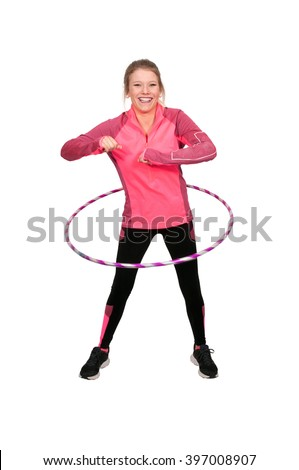 Young beautiful woman with a hula hoop
