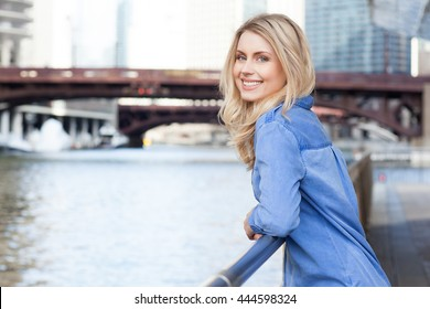 Young beautiful woman with long blond hair.