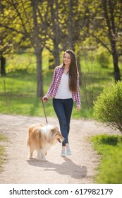 young beautiful woman with long hair walking with collie dog. Outdoors in the park.