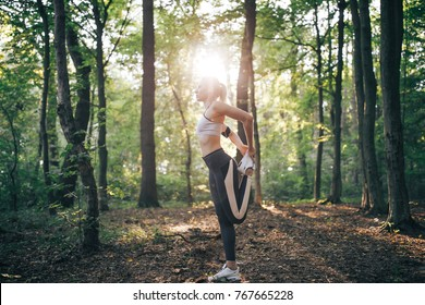 Young beautiful woman, morning, warm-up fitness outfit,