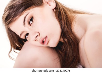 Young Beautiful Woman With Naked Shoulders - Stock Image