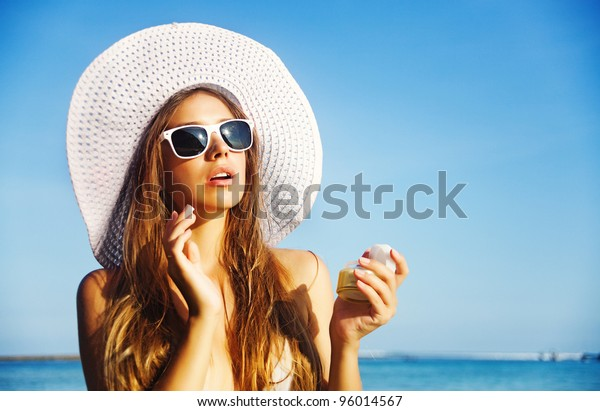 Young beautiful woman on the beach, bali