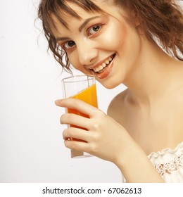 young beautiful woman with orange juice