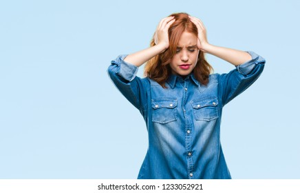 Young beautiful woman over isolated background suffering from headache desperate and stressed because pain and migraine. Hands on head.