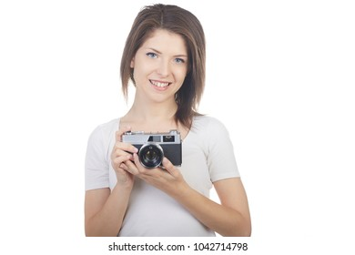 young beautiful woman photographer shot in white background
