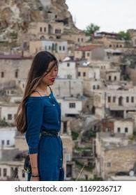 Young beautiful woman portrait in Cappadocia, Turkey.