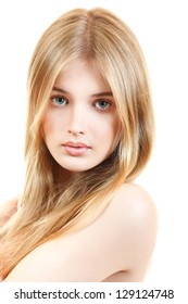 young beautiful woman portrait with long blond hair over white studio shot