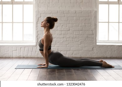 Young beautiful woman practicing yoga, lying in Cobra pose, doing Bhujangasana exercise, attractive girl in grey sportswear, leggings and bra working out at home or in modern yoga studio