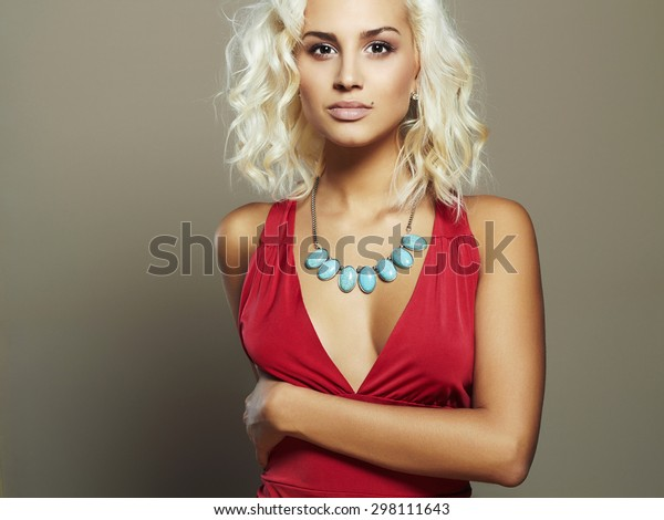 Young Beautiful Woman Red Dresssexy Body Stock Photo Edit Now