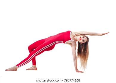 young beautiful woman in the red sports jumpsuit. Beautiful and healthy woman doing exercises isolated on white background . Sport, fitness, diet, weight loss and healthcare concept