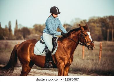 young beautiful woman rides a horse wearing a helmet. Horseback Riding.